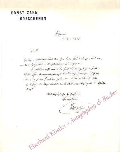 Zahn, Ernst, Schriftsteller und Hotelier (1867-1952).