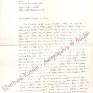Fernau, Joachim, Schriftsteller und Kunstsammler (1909-1988).