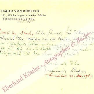 Doderer, Heimito von, Schriftsteller (1896-1966).