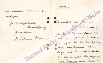 Frank, Bruno, Schriftsteller (1887-1945).