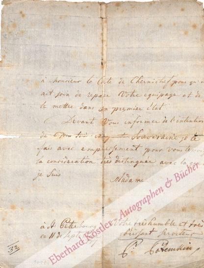 Potemkin, Gregor Alexandrowitsch, Feldmarschall, Günstling der Zarin Katharina der Großen (1739-1791).
