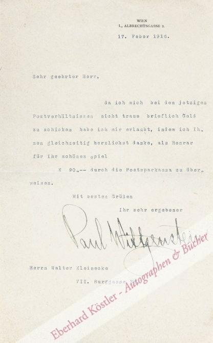 Wittgenstein, Paul, Pianist (1887-1961).