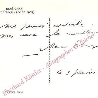 Char, René, Schriftsteller (1907-1988).