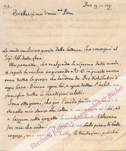 Casanova, Giacomo, Abenteurer, Schriftsteller und Bibliothekar (1725-1798).