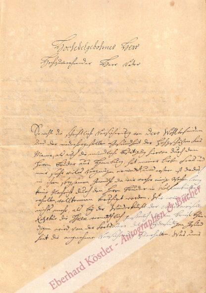 Musäus, Johann Karl August, Schriftsteller und Märchensammler (1735-1787).