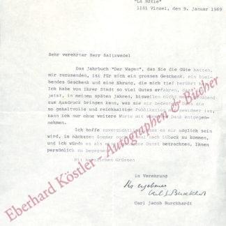 Burckhardt, Carl Jacob, Schriftsteller und Diplomat (1891-1974).