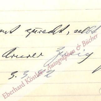Zweig, Arnold, Schriftsteller (1887-1968).