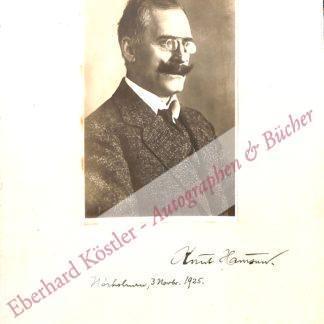 Hamsun, Knut, Schriftsteller und Nobelpreisträger (1859-1952).