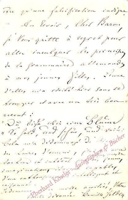 """Heine, Heinrich -  Selden, Camille (d. i. Elise Krinitz, geb. Müller), Schriftstellerin, Heines letzte Geliebte, gen. """"Mouche"""" (1825-1896)."""