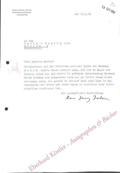 Jahnn, Hans Henny, Schriftsteller (1894-1959).