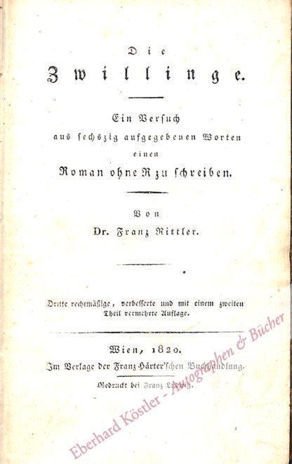 Rittler, Franz, Schriftsteller (1782-1837).