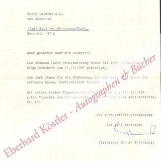Butenandt, Adolf, Chemiker und Nobelpreisträger (1903-1995).