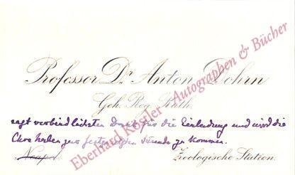 Dohrn, Anton, Zoologe (1840-1909).