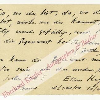 Key, Ellen, Schriftstellerin und Frauenrechtlerin (1849-1926).