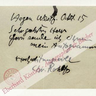 Rohlfs, Christian, Maler (1849-1938).