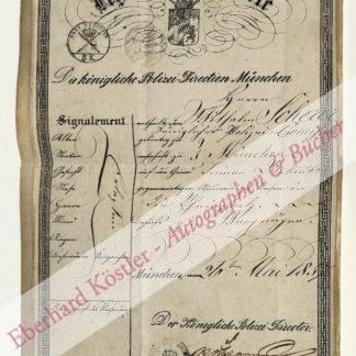 Pass -  Reigersberg, August Lothar von [?], Polizeidirektor (1815-1888).