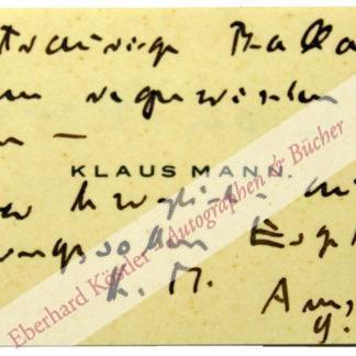 Mann, Klaus, Schriftsteller (1906-1949).