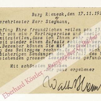 Bloem, Walter, Schriftsteller (1868-1951).