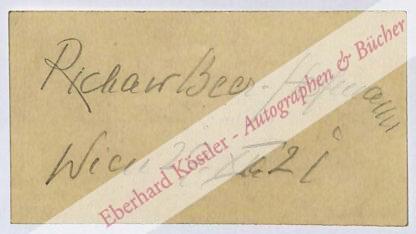 Beer-Hofmann, Richard, Schriftsteller (1866-1945).