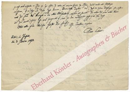 Carossa, Hans, Dichter und Arzt (1878-1956).