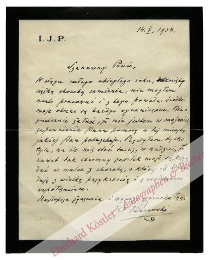 Paderewski, Ignacy Jan, Komponist, Pianist und Politiker (1860-1941).