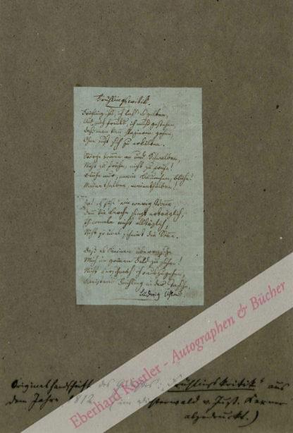 Uhland, Ludwig, Schriftsteller (1787 -1862).