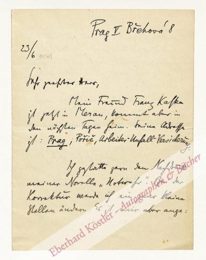 Brod, Max, Schriftsteller (1884-1968).