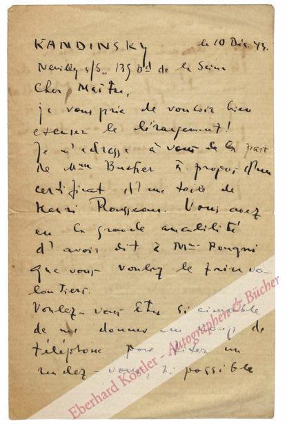 Kandinsky, Wassily, Maler und Graphiker (1866-1944).