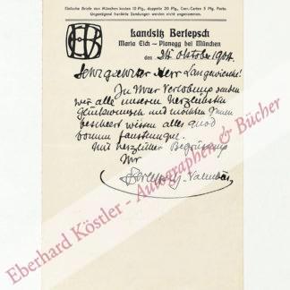 Berlepsch-Valendas, Hans Eduard, Architekt und Maler (1849-1921).