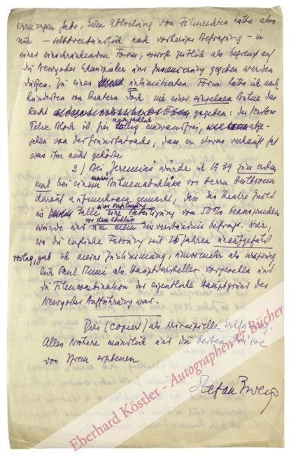 Zweig, Stefan, Schriftsteller (1881-1942).