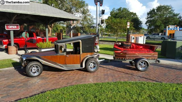 Crazy 1984 California Munster Car and Coffin Trailer Hot Rod