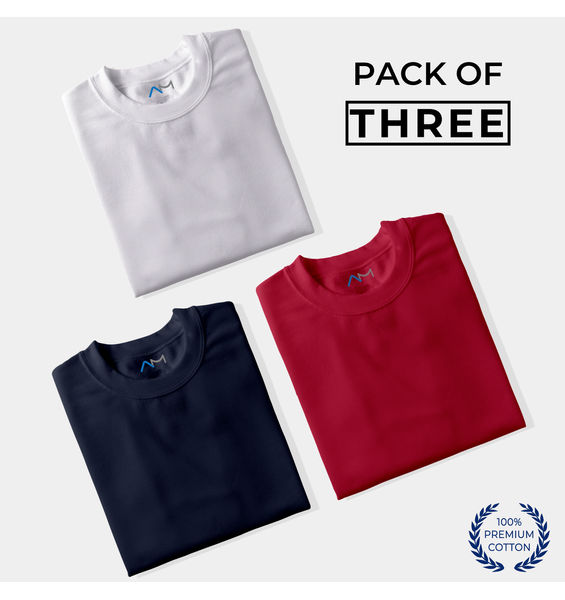 Pack of 3: White, Navy Blue, Maroon