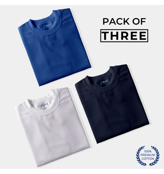 Pack of 3: Royal Blue, White, Navy Blue