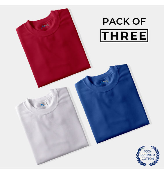 Pack of 3: Maroon, White, Royal Blue