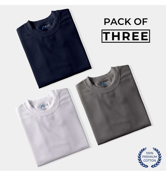 Pack of 3: Navy Blue, White, Charcoal Grey