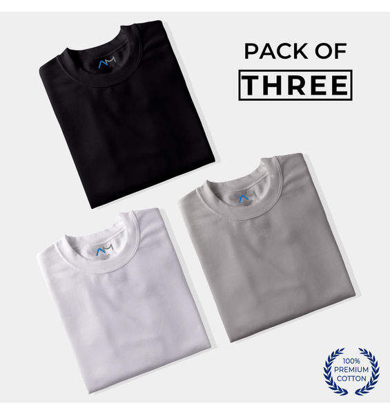 Pack of 3: Black, White, Grey