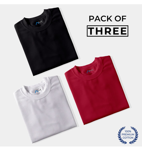 Pack of 3: Black, White, Maroon