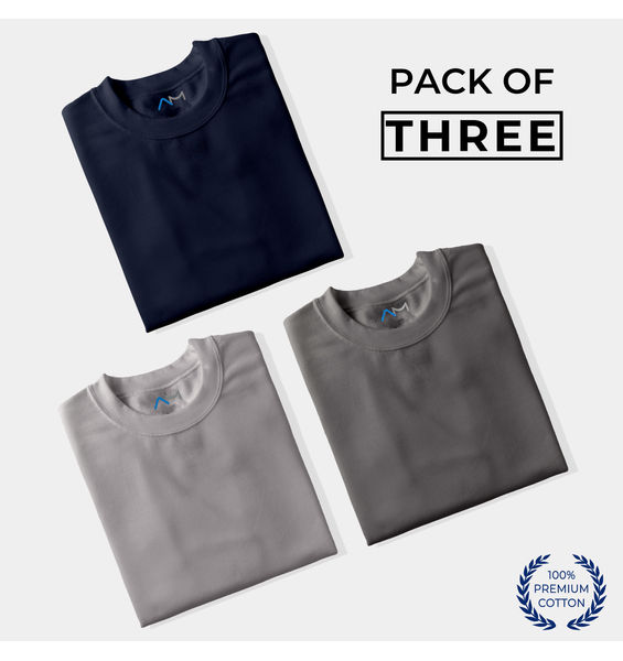 Pack of 3: Navy Blue, Grey, Charcoal Grey