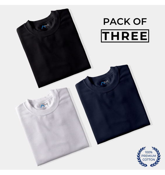 Pack of 3: Black, White, Navy Blue