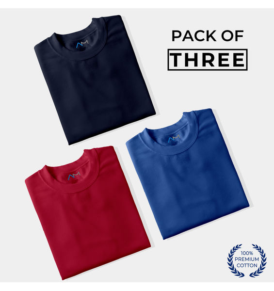 Pack of 3: Navy Blue, Maroon, Royal Blue