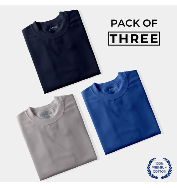 Pack of 3: Navy Blue, Grey, Royal Blue