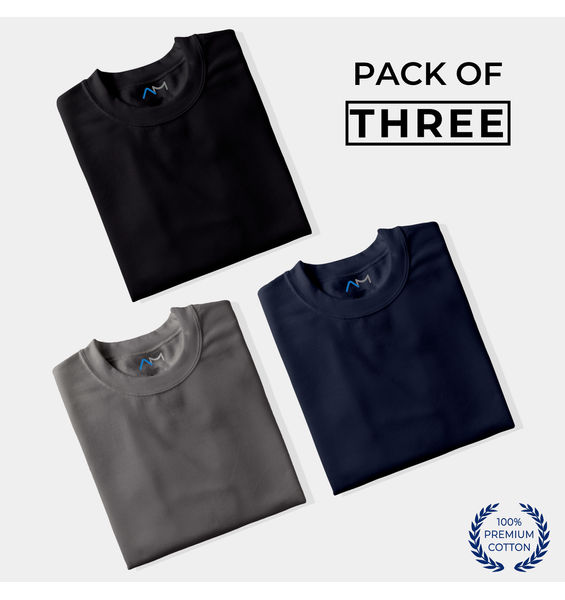 Pack of 3: Black, Charcoal, Navy Blue