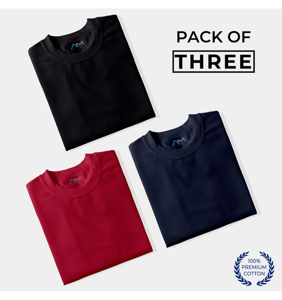 Pack of 3: Black, Maroon, Navy Blue