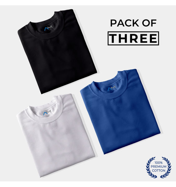 Pack of 3: Black, White, Royal Blue