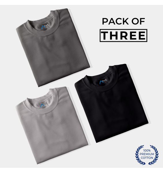 Pack of 3: Charcoal, Grey, Black