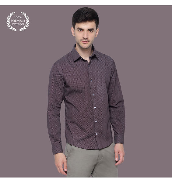 Inky Purple Micro Dot Cotton Shirt