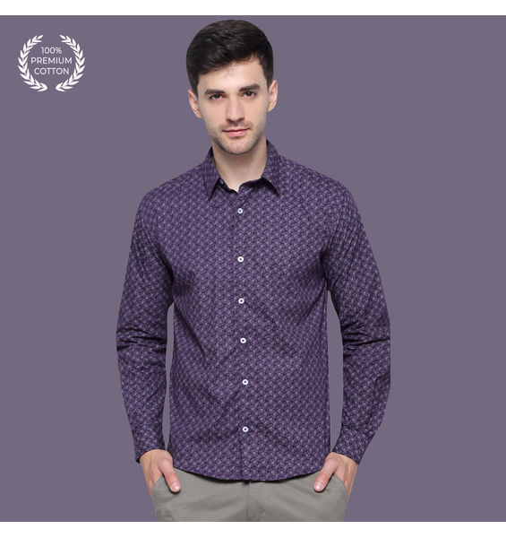 Bilberry Purple Printed Cotton Shirt