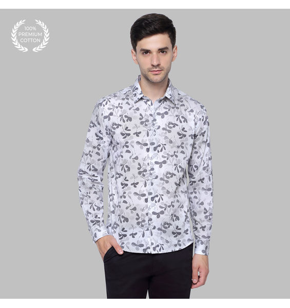 Ivory White Floral Cotton Shirt