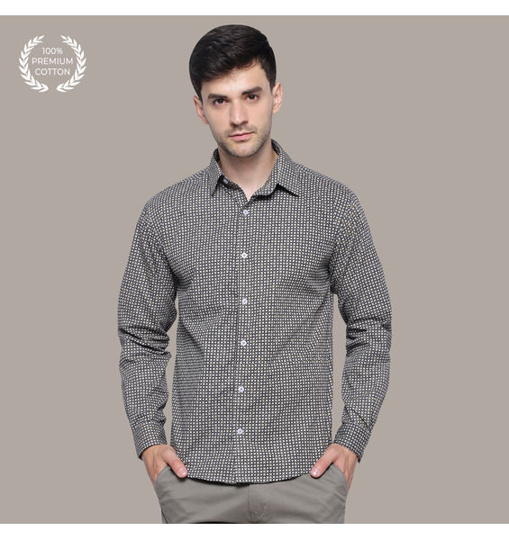 Oyster Gray Pattern Cotton Shirt