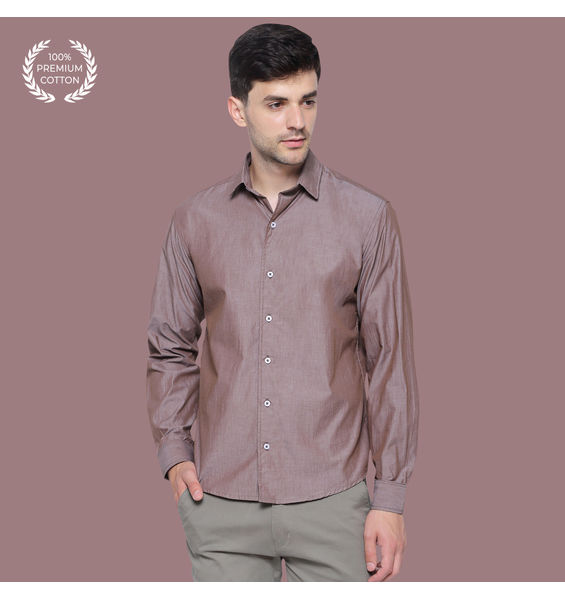 Glazed Tan Brown Slub Chambray Cotton Shirt